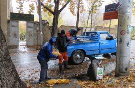 قراردادن کیسه های مخلوط ماسه و نمک در نقاط مختلف شهر