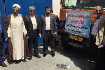ارسال ۲ دستگاه کامیون اقلام ضروری به خوزستان