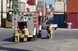 مانور عملیاتی امداد و نجات و اطفاء حریق دستگاه RTG در بندر بوشهر