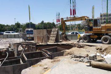 جا به جایی خط ۱۲ اینچ تغذیه رینگ اصفهان در میدان بزرگمهر