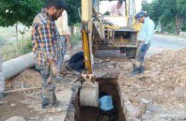 رفع حادثه خط انتقال آب مخزن ۲۷۰۰ متر مکعبی واقع در خبایان بسیج منطقه فریدونشهر