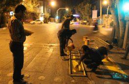 خط کشی محلهای عابر پیاده در معابر سطح شهر فلاورجان همزمان با آغاز سال تحصیلی جدید