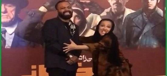 شوخی منشوری خانم بازیگر در مراسم اکران فیلم سینمایی «مسخرهباز» + فیلم